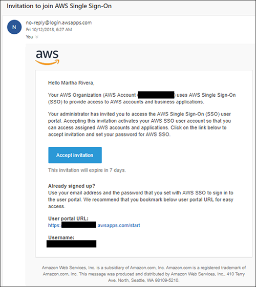 Figure 15: AWS SSO password configuration email
