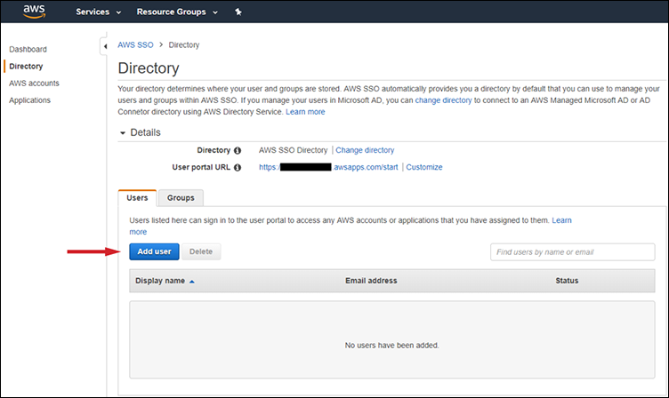 Figure 3: Adding new users to your directory