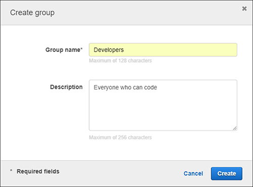 Figure 6: Adding a name and description to your new group