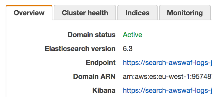 Figure 3: Identifying the Kibana management URL