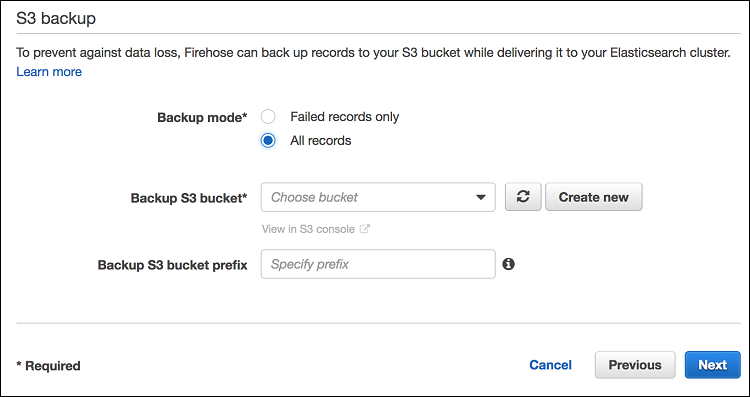 Figure 6: Setting up S3 backup in Data Firehose