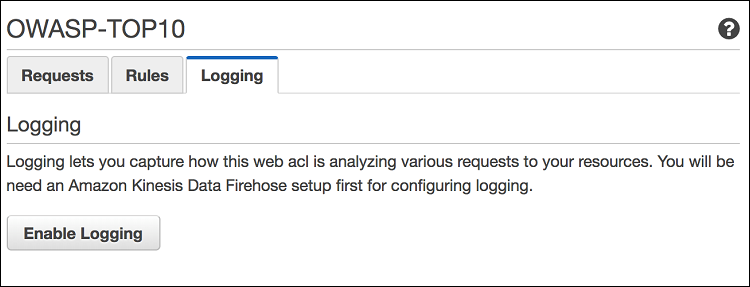 Figure 8: Enabling logging for AWS WAF web ACL