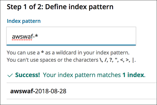 Figure 9: Configuring the Kibana index pattern