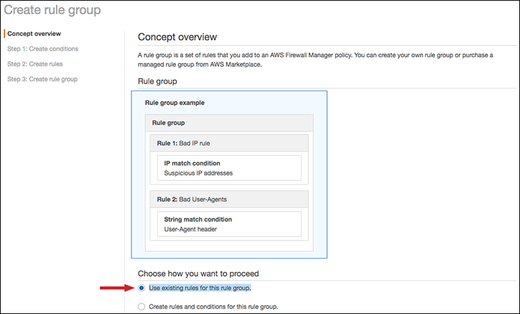"Figure 2: The ""Use existing rules for this rule group"" option"