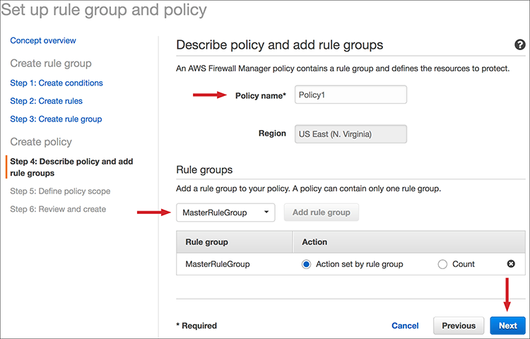 Figure 4: Associate the policy to the rule group
