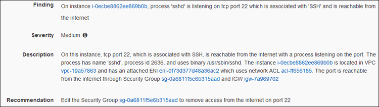 Figure 4: Finding for a well-known port open to the Internet, with the Amazon Inspector Agent installed and a listening process (SSH)