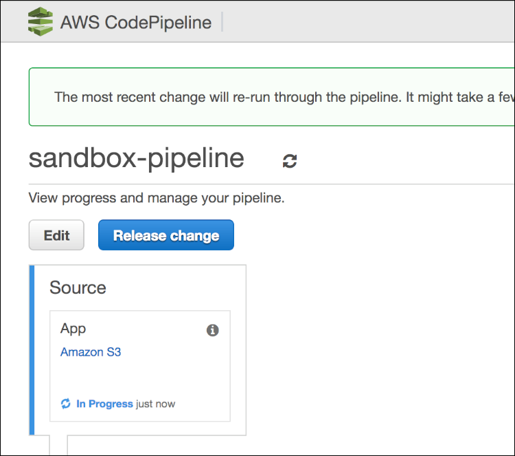 Figure 6: AWS CodePipeline console
