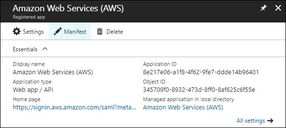 Figure 5: Azure AD Application Manifest