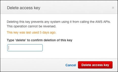 "Figure 8: The ""Delete access key"" confirmation window"