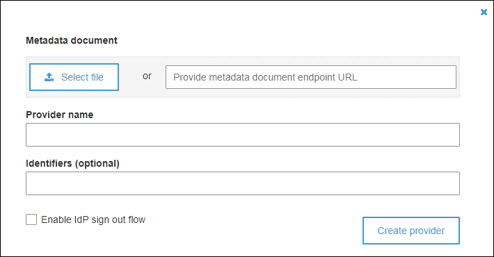 "Figure 11: Select ""Select file"" and select the Amazon SSO metadata .xml file you downloaded in previous step"