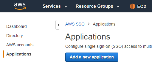 "Figure 7: Select ""Application"" and then ""Add a new application"""