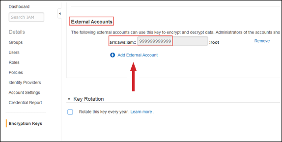"Figure 2: Enter the target account ID and then select ""Add External Account"""