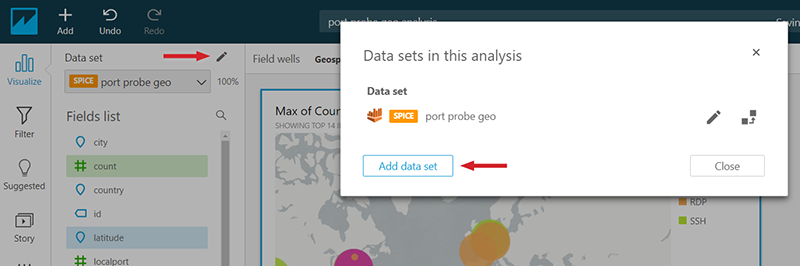 Figure 15: Adding a new data set to your Amazon QuickSight analysis