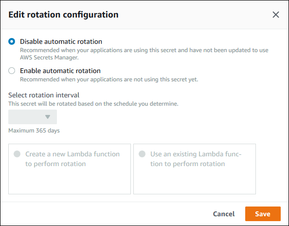 Figure 10: Select the Edit rotation configuration