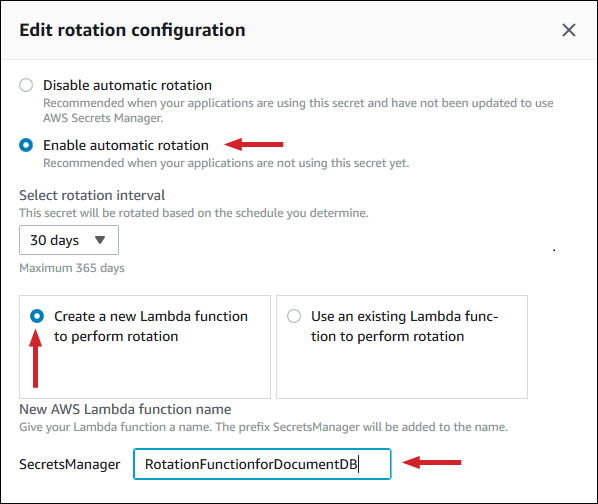 Figure 11: Chose to enable automatic rotation, select a rotation interval, create a new Lambda function, and give it a name