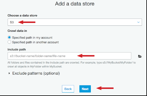 Figure 12: Choose a data store