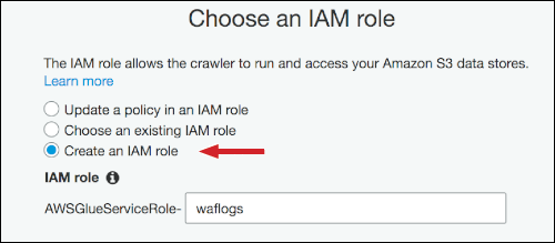 "Figure 13: Choose ""Create an IAM role,"" and enter a name"