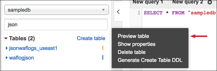 "Figure 17: Choose ""Preview table"" to view the data"