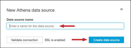 "Figure 18: Enter the ""Data source name,"" and choose ""Create data source"""