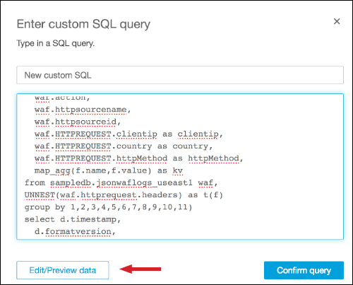 "Figure 19: Paste the SQL query in ""New custom SQL query"""