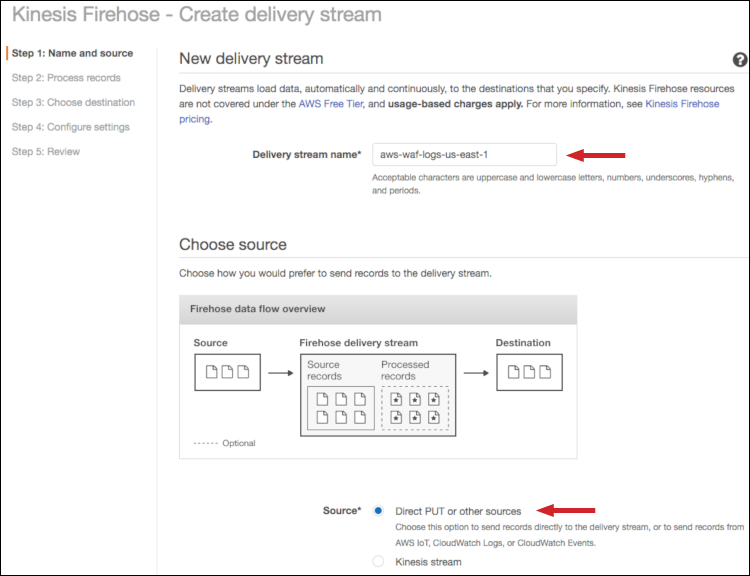 Figure 2: Select the delivery stream name and source
