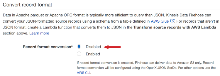 "Figure 4: Choose ""Disabled"" to not convert the JSON object"
