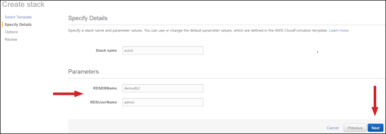 "Figure 3: Parameters on the ""Specify Details"" page"