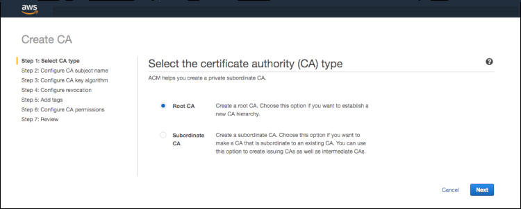 Figure 1: Issue certificates after creating a root and subordinate CA