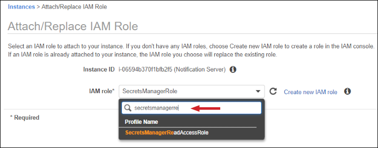 "Figure 11: Example ""Attach/Replace IAM Role"""