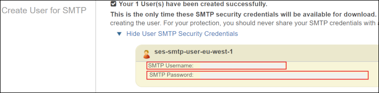 Figure 5: Make a note of the SES SMTP Username and SMTP Password