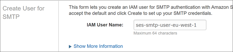 Figure 4: Make a note of SES IAM User Name