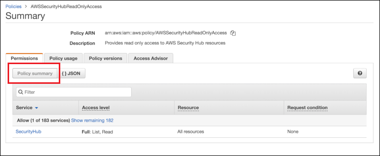 Figure 1: Policy summary of AWSSecurityHubReadOnlyAccess AWS managed policy