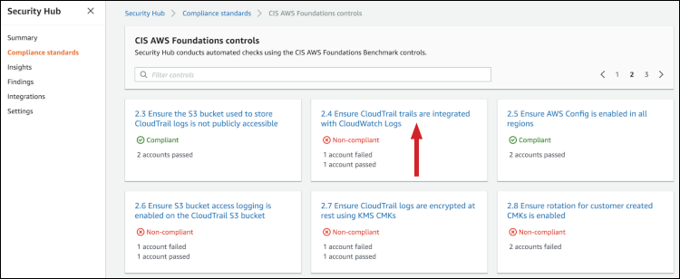 Figure 10: Locating CIS check 2.4 in the Security Hub console