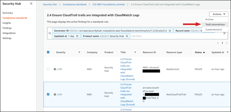 Figure 11: Findings generated against CIS check 2.4 in the Security Hub Console