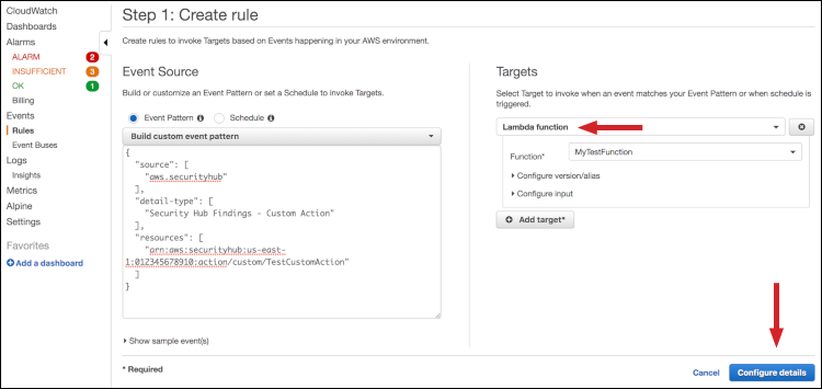 Figure 8: Adding your created Lambda function as Target for the CloudWatch rule