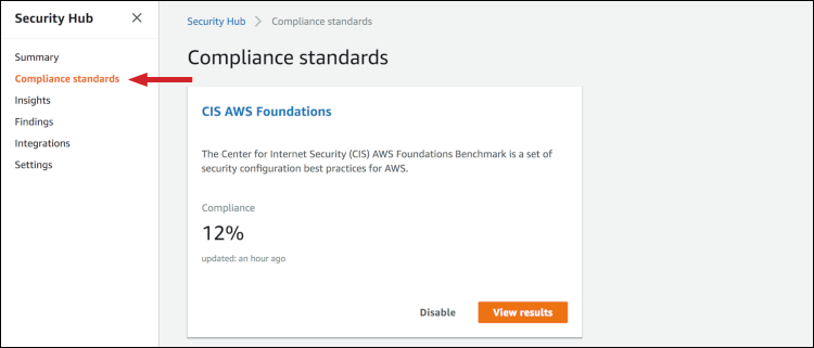 Figure 9: Compliance standards page in the Security Hub console