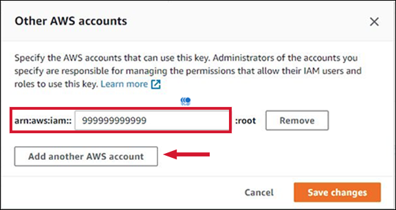 "Figure 2: Enter the target account ID and then select ""Add another AWS account"""