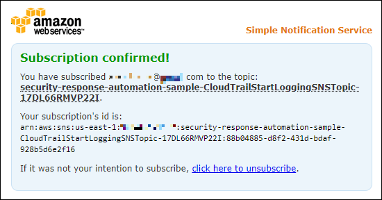 Figure 3: SNS subscription confirmation