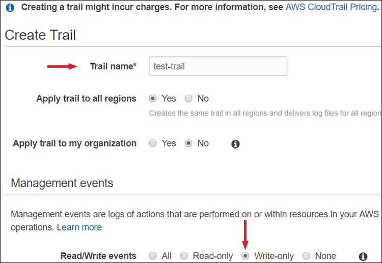 Figure 5: Create a CloudTrail trail