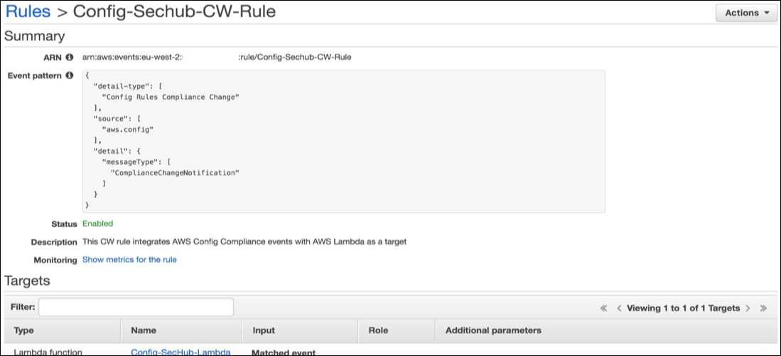 Figure 4: Look for Config-Sechub-CW-Rule