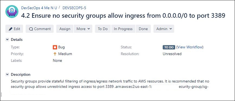 Figure 7 - Security Hub Finding in JIRA