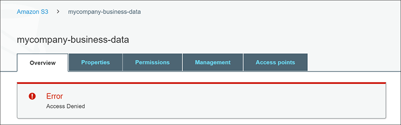 Figure 3: Error message attempting to access directly from Amazon S3