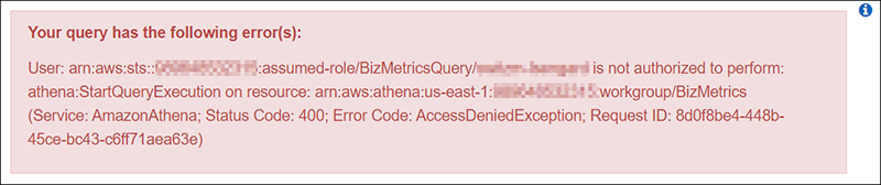 Figure 4: Error message attempting to call Athena from outside my VPC