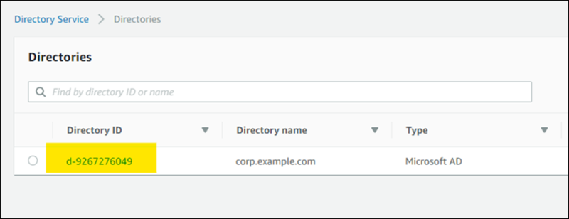 Figure 4: Select the Directory ID