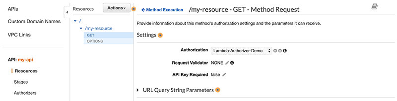 Figure 4: Select your API authorizer