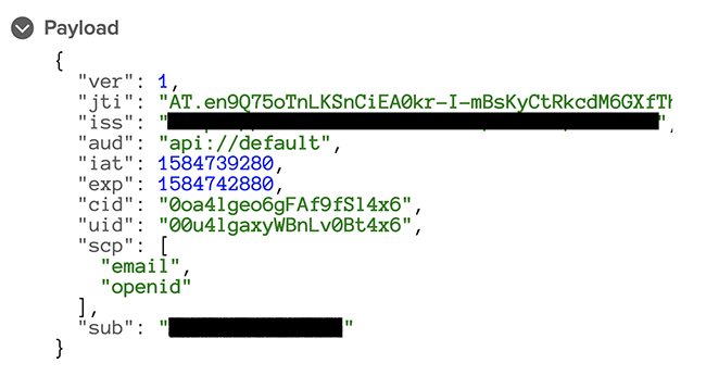 Figure 6: JSON object that contains the email scope