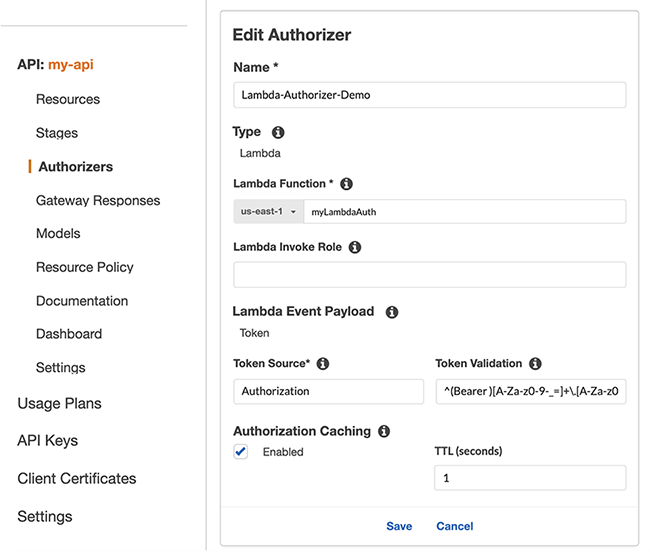 Figure 2: Create a new Lambda authorizer