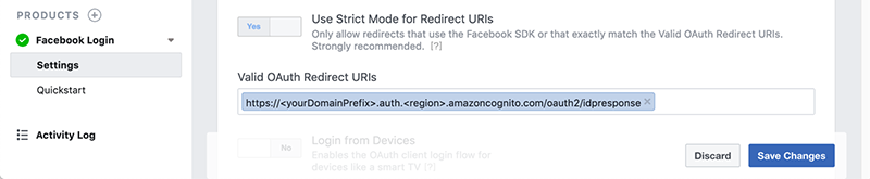 Selecting and migrating a Facebook API version for Amazon Cognito
