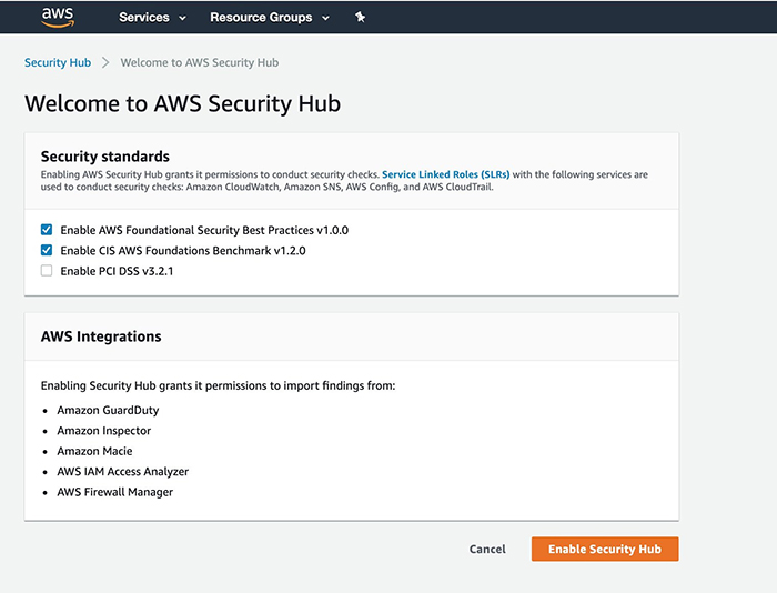 Figure 1: Welcome to AWS Security Hub page