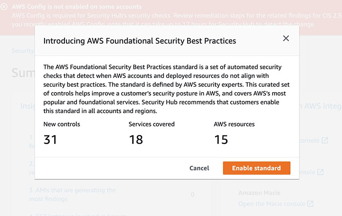 Figure 2: AWS Foundational Security Best Practices confirmation page